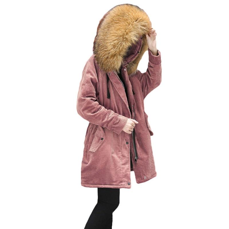 Parka 2018 Nagymaros À Grande Chaude Manteau Caramel Rembourré white Femme pink khaki Z65 Longue Taille Épaissir D'hiver Femmes Outwear En Coton Capuchon Veste Collier Atxtzr