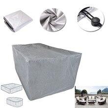 Yeni 8 boyutları gümüş su geçirmez açık Patio bahçe mobilyaları yağmur kar sandalye kapakları kanepe masa sandalye toz geçirmez kapak