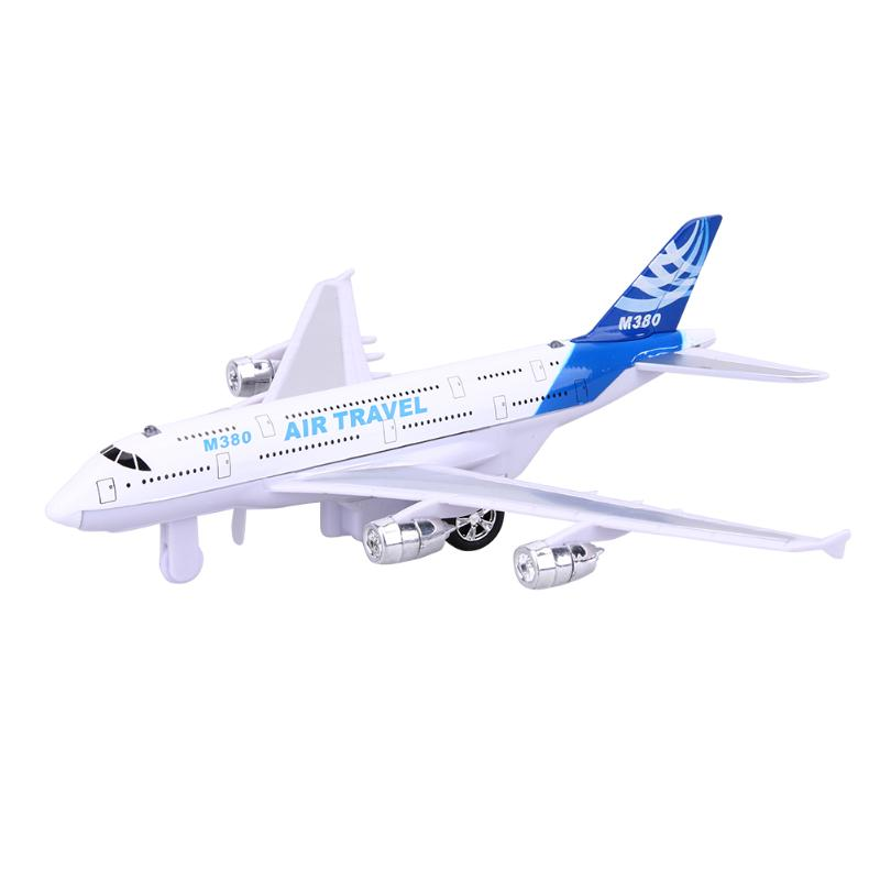 Mini Alloy Airplane Model with LED Light Flashing Music Sound Fun Pull Back Toy Air Plane Aircraft Flight for Kids Gift