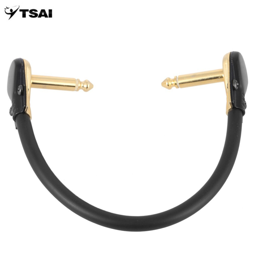 TSAI Guitar Patch Cable Cord Noiseless Instrument Cable with Golden Plated Right Angle Plug for Guitar Effect 15cm/30cm