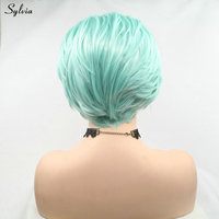 Sylvia Synthetic Wigs With Baby Hair Blue Short Bob Wig Heat Resistant Handmade Lace Frontal Wig Pastel Cool Color Hair Women