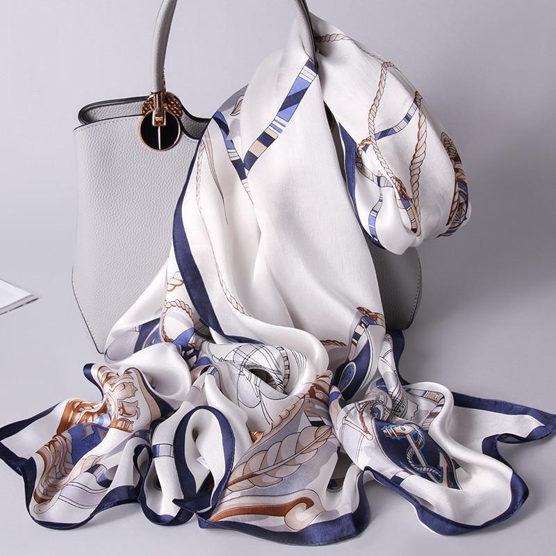 100% Real Silk Scarf Women Echarpe 2020 Hangzhou Pure Silk Shawls And Wraps For Ladies Foulard Printed Natural Long Silk Scarves