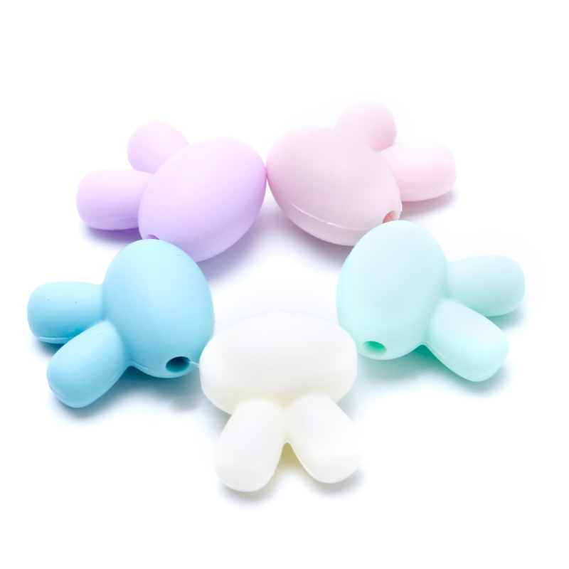 5x Rabbit Silicone Beads Baby Teething Teether BPA Free Necklace Making Chew Toy