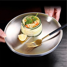 304 stainless steel flat plate creative plate double-layer dish plate dish household dish round european flat plate стоимость