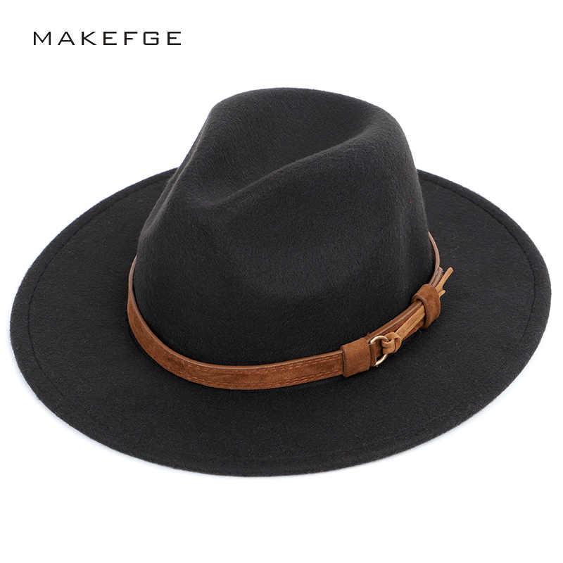 ... sobre Moda cinturón de Color sólido Fedoras gran tamaño Otoño Invierno  hombres Top sombrero de fieltro de mujer sombrero masculino gran visera de  lana ... 0876f3ceb7ff