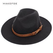 2af31d9090847 Fashion Belt Solid Color Fedoras Big Size Autumn Winter Men s Top Hat  Women s Felt Hat Male Big Visor Wool Luxury Vintage Jazz