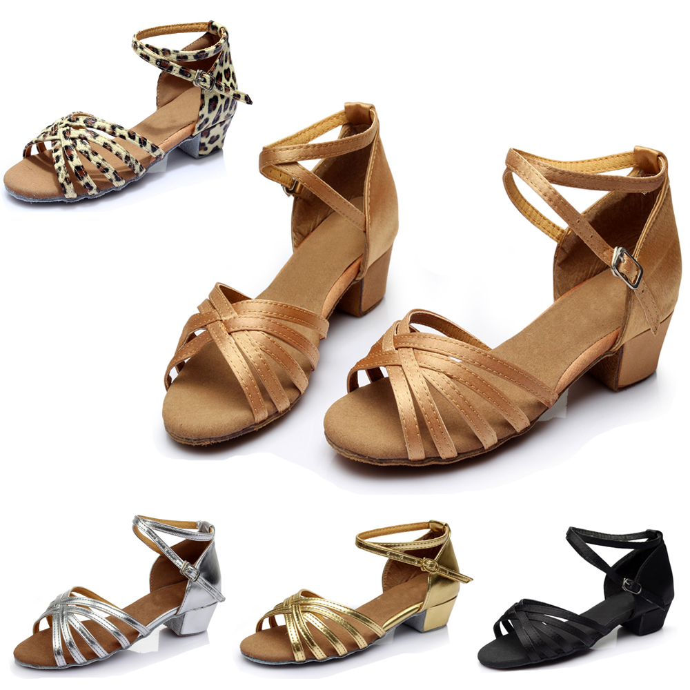 Children Adult Latin Dance Shoes Ladies Girl Tango/Ballroom Dancing Shoes Soft Bottom Exercise Shoes Indoor Sandals C01G
