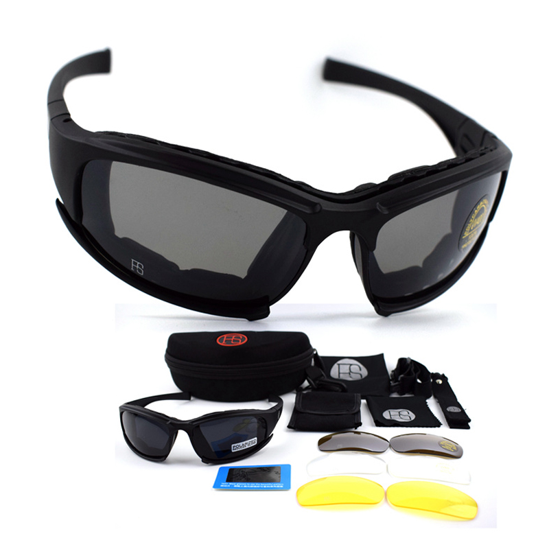 C5 Polarized Sunglasses 4Lens Eyewear UV400 Protection Goggles Tactical Glasses