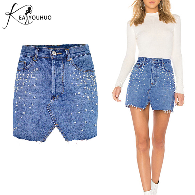 diseño atemporal efd08 9c5e1 € 14.04 40% de DESCUENTO|2018 verano Mujer ropa Sexy lápiz faldas Denim  cintura alta perla Jeans Mujer Faldas cortas para Mujer Pantalones Jupe ...