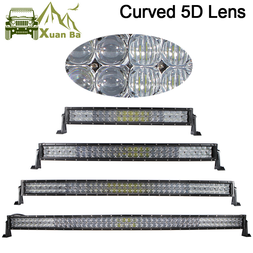 XuanBa 5D 52 Inch 500W Curved Led Light Bar For 4x4 Off Road Trucks Tractor 4WD ATV 12V 24V Combo Led Driving OffRoad Bar Lights safego 2x 4 27w led work light 12v 24v off road 4x4 car trucks atv 4wd tractor led offroad lights flood spot driving lamp