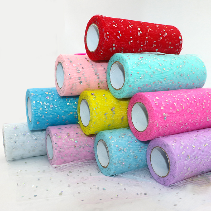 Image 4 - Glitter Sequin Tulle Roll 15cm*22m Tulle Roll Spool Tutu skirt Wedding Decoration Organza Laser DIY Birthday Party Supplies-in Party DIY Decorations from Home & Garden