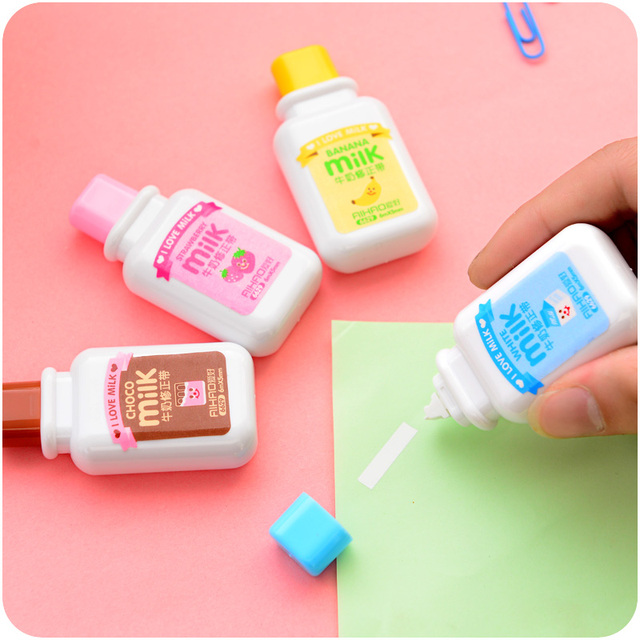 Milk drink correction tape Kawaii stationery Office material School supply corrective escolar cinta papeleria 6847
