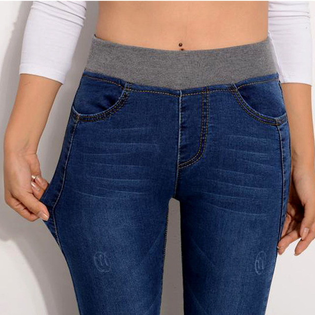 2017 Nova Marca Sexy Calça Jeans Cintura Elástica Magro Denim Ocasional Das Mulheres longo Calças Lápis Plus Size 40 Jeans Mulher Senhora Calças KZ031