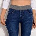 2017 Nueva Marca Sexy Jeans Mujeres Ocasionales Cintura Elástica Denim Slim Pantalones Vaqueros del Lápiz Más del Tamaño 40 de la Mujer Señora Pantalones KZ031