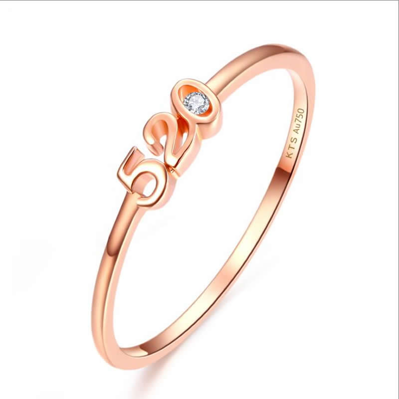 Authentic AU750 Rose gold Ring fashion number designer 520 ring 0.95g pure au750 rose gold love ring lucky cute letter ring 1 13 1 23g