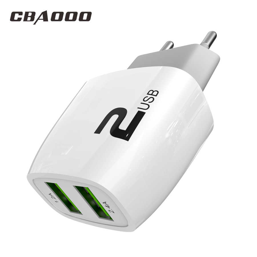 Cbaooo Uni Eropa 2U USB Charger Ponsel Usb Charger Cepat Pengisian Charger Dinding untuk Iphone Samsung Xiaomi 2.4A Max Charger