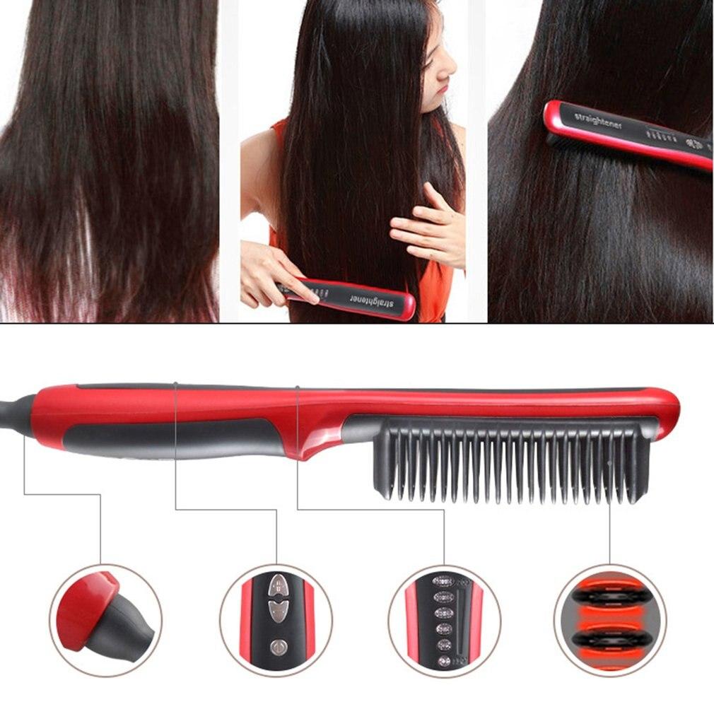 Купить с кэшбэком Hair Straightener Durable Electric Straight Hair Comb Brush LCD Heated Ceramic Hair Beard Straightening Brush EU Plug