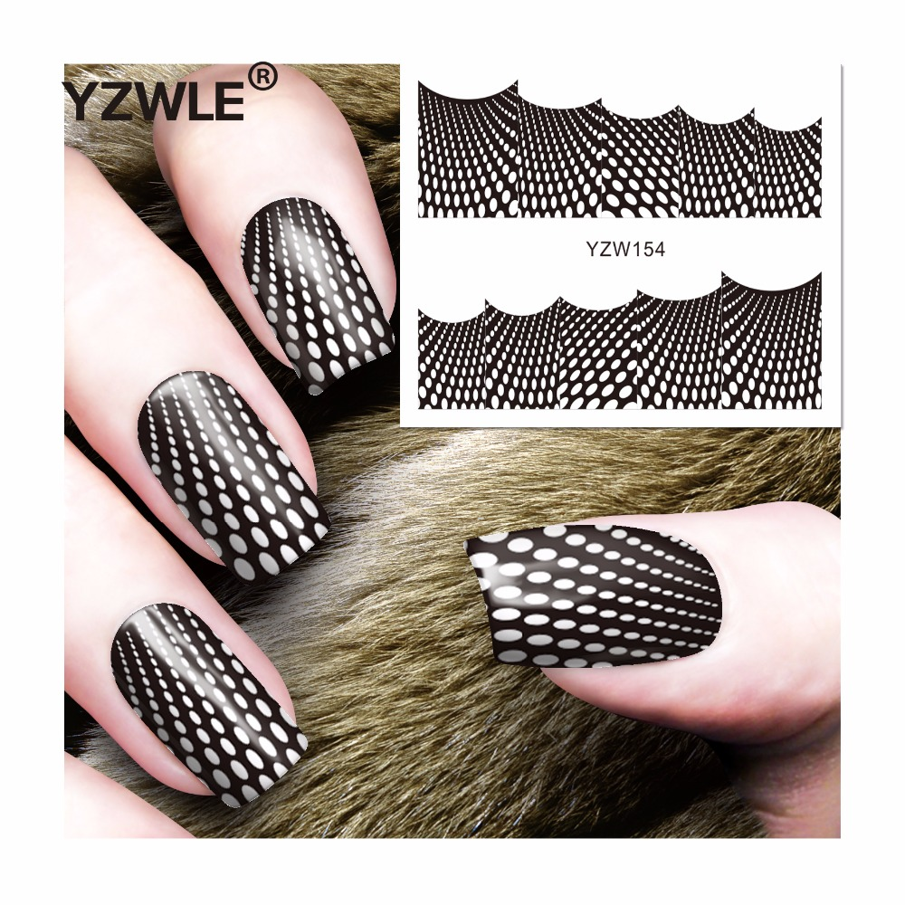 YZWLE 1 Sheet DIY Decals Nails Art Water Transfer Printing Stickers Accessories For Manicure Salon (YZW-154) yzwle 1 sheet hot gold 3d nail art stickers diy nail decorations decals foils wraps manicure styling tools yzw 6015