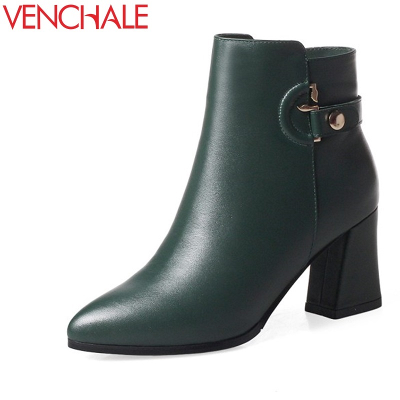 VENCHALE fashion booties high heels woman genuine leather pointed toe shoes winter good quality thick heel ankle buckle boots venchale two heels options sheepskin