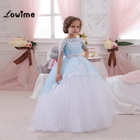 Ball Gown Flower Girl Dresses First Communion Dresses For Girls Custom Made With Applique Cheap Kids Evening Gowns Vestido Longo