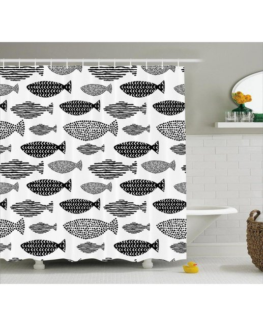 Fish Shower Curtain Sea Animals Black White Print For BathroomFabric Washable Waterproof With Rings