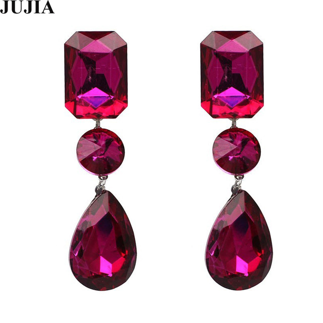 Full Crystal Dangle Earrings Luxury Hot Pink Drop Brincos Statement Jujia Jewelry Whole