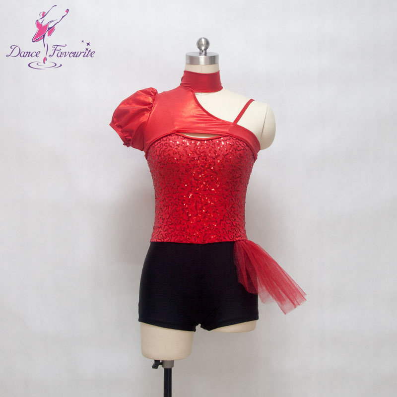 red spandex with stretch sequin fabric bodice bikeshort women & girl stage performance ballet, jazz & tap dance costume