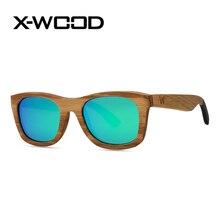 X-WOOD Fashion Square Zebra Wood Polarized Sunglasses Men Sunglasses Women Men Green Mirror Sun Glasses Oculos Sol Masculino