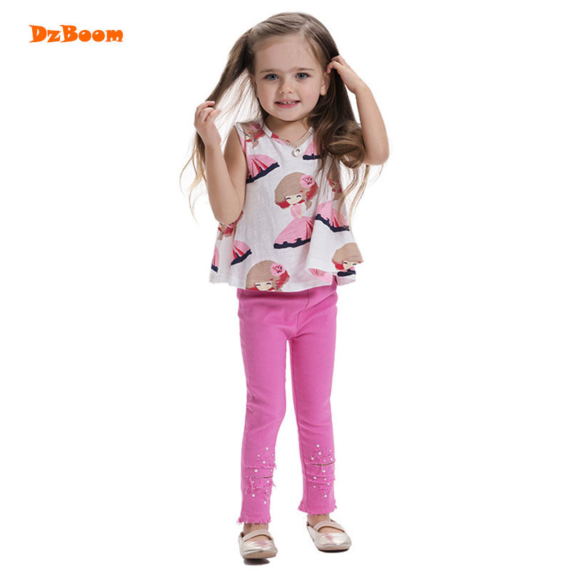 DzBoom 2017 Summer Fashion Girls Sleeveless T-shirts Round Neck Kawaii Tshirt Young Children Cute Printed Cotton Clothing Tees