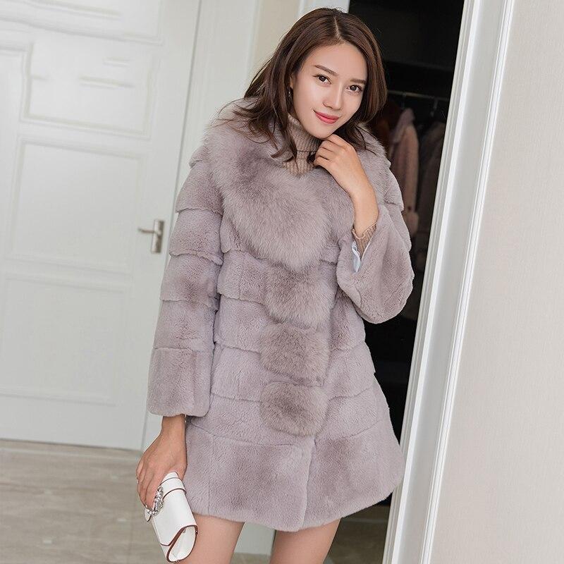 Reale per il collo di pelliccia da donna onda cut tutta la pelle rex rabbit cappotti di pelliccia della tuta sportiva delle donne di spessore caldo inverno cappotto 2018 nuovo autunno