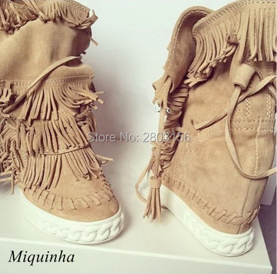 Fashion Fringed Women Wedge Booties Tassel Ankle Boots Height Increasing Lace Up Boots Autumn Casual Shoes