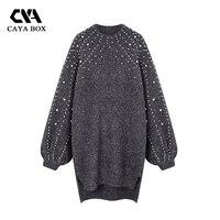 2018 Autumn Loose Pearl Jumper Dress Lantern Sleeves Beaded Long Sweater Turtleneck knitted Female Winter Vestidos