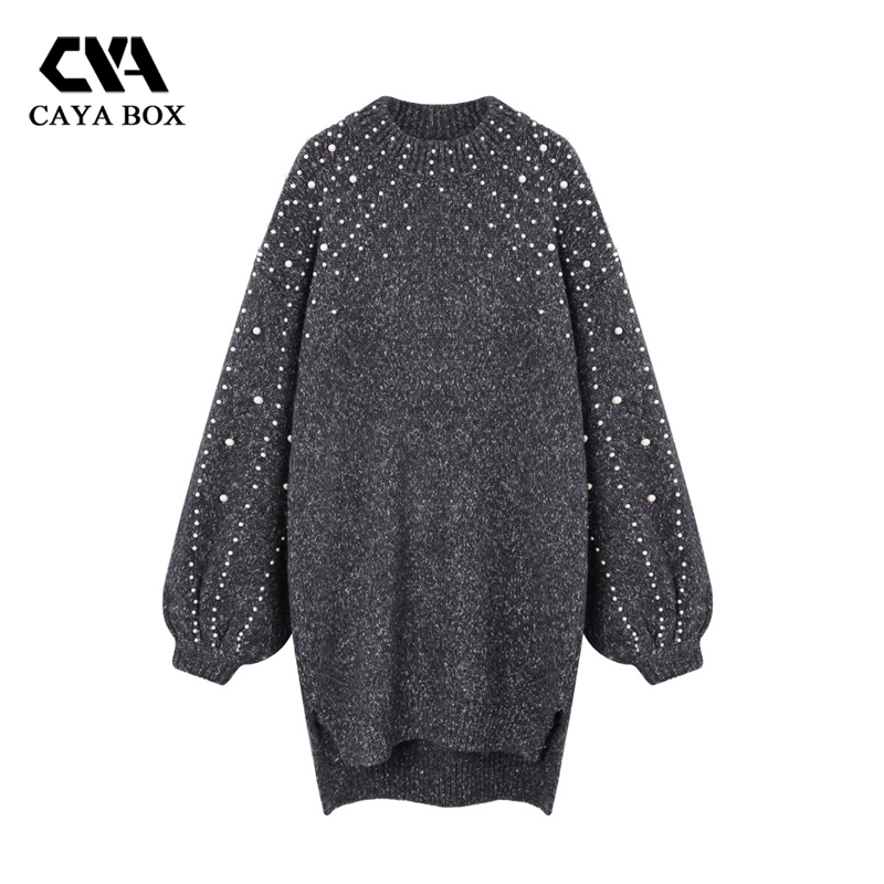 2018 Autumn Loose Pearl Jumper Dress Lantern Sleeves Beaded Long Sweater Turtleneck knitted Female Winter Vestidos