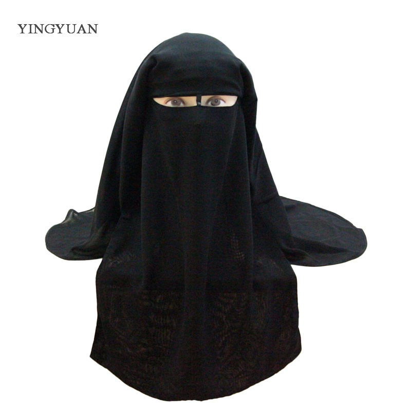 Muslim Bandana Scarf Islamic 3 layers Niqab Burqa Bonnet Hijab Cap Veil Headwear Black Face Cover Abaya Style Wrap Head Cover