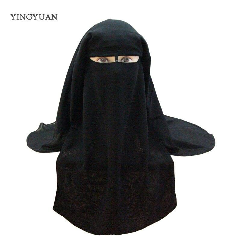 Musulman Bandana Écharpe Islamique 3 couches Niqab Burqa Capot Hijab Cap Voile Chapeaux Noir Face Cover Abaya Style Wrap Tête couverture