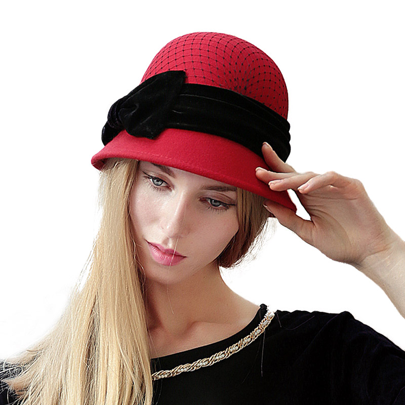 ad0cc0fae9d Aliexpress.com : Buy FS Winter Wool Hat For Women Fedora Vintage 100% Felt  Hats With Handmade Bow Ladies Cloche Bowler Church Hats Chapeau Femme Caps  from ...