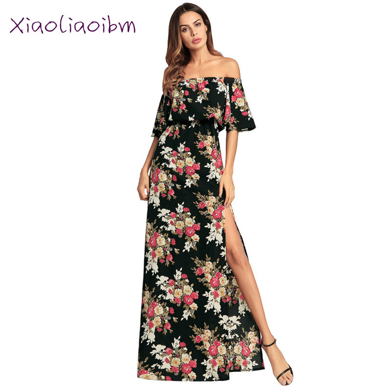 Long Dress 2018 Summer New Women Floral Print Casual Half Sleeves A Word Collar Maxi Dress Irregular Clothing