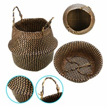 Natural Seagrass Belly Basket Mayitr Storage Holder Plant Pot Bag Home Decoration New