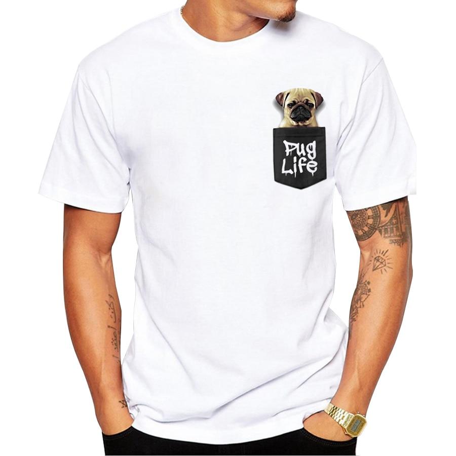 2017 custom men t shirt short sleeve fashion pug life for Custom t shirts with pockets