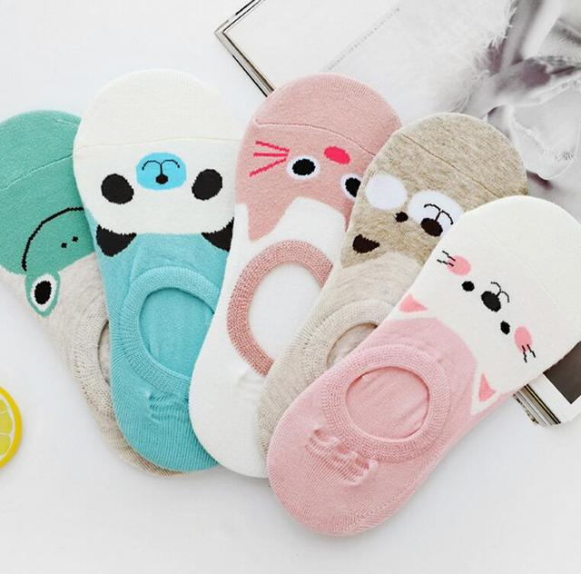 dde8727cd8 US $1.01 15% OFF|Free Shipping Women Candy Color Sock Small Animal Cartoon  Short 100% Cotton Boat Socks Breathable Casual Ladies Funny Sock S20-in ...