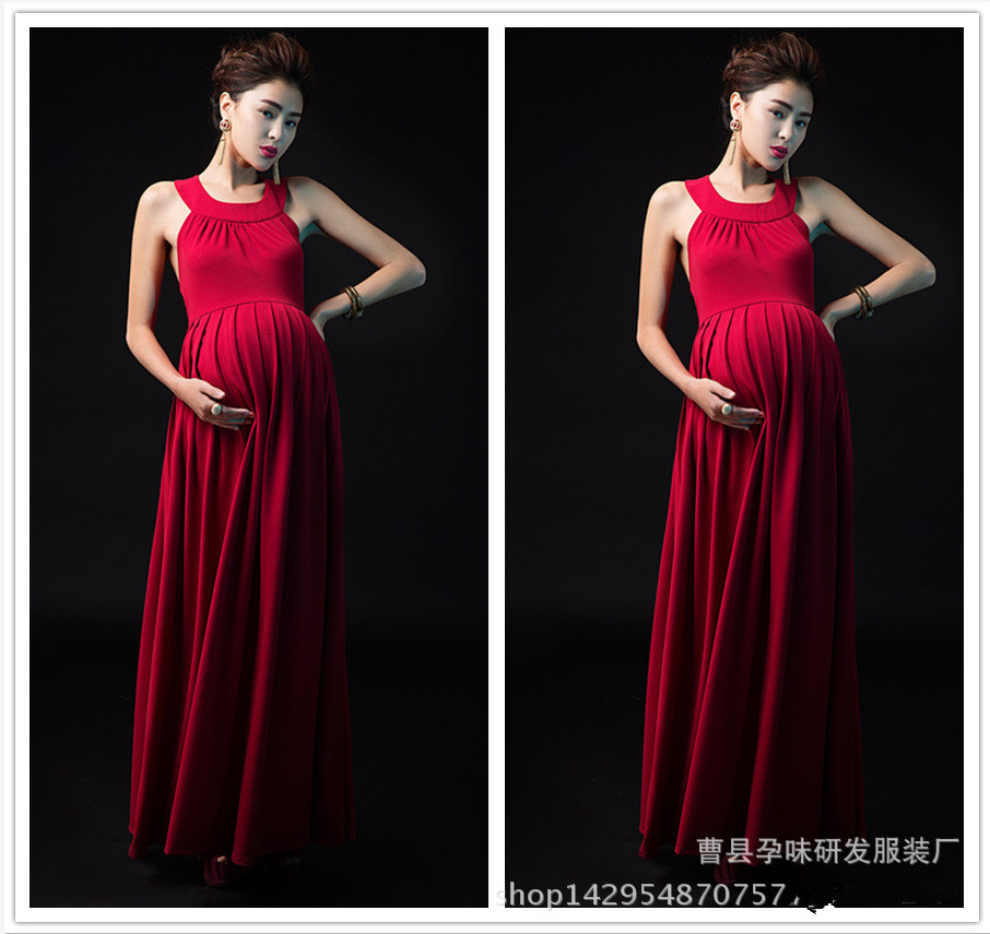 Fashion Red Maternity Dresses Maternity Photography Props Dress Elegant Pregnancy Pregnant Photography Props photography maternity dress black embroider elegant half sleeve pregnant dress