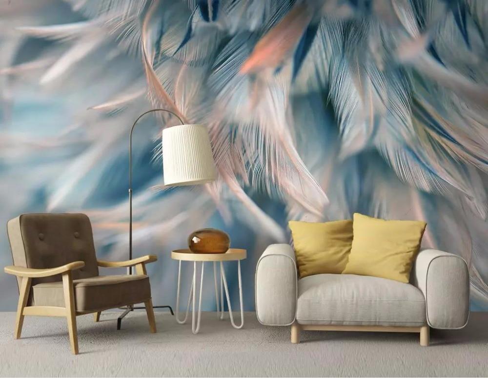 3D Wallpaper Painting Creative Feather Mural Wallpaper Living Room Bedroom High Quality Slik Waterproof Wall Murals