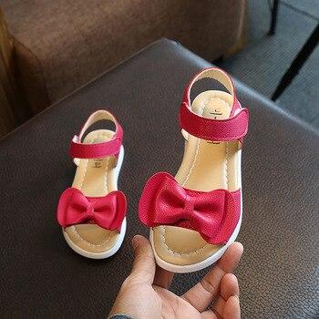 2018 עונה חדשה קיץ עניבת פרפר ילדי נעלי בנות סנדלי תינוק קוריאני מסיבת נסיכת נעלי מוצק עבור 2 -12 מכירה לוהטת A06063