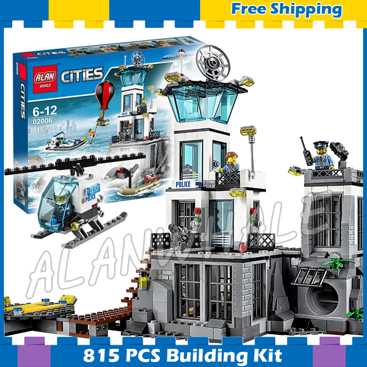 815pcs City Police Prison Island Helicopter Construction 39016 Model Building Blocks Assemble Sets Bricks Compatible With Lego lepin 02006 815pcs city series police sea prison island model building blocks bricks toys for children gift 60130