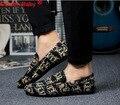 2017 Nueva Primavera de La Moda Retro de Impresión de La Pu de Cuero Zapatos Casuales Doug Zapatos Slip-On Transpirable Holgazanes Chaussure Homme Hombres pisos