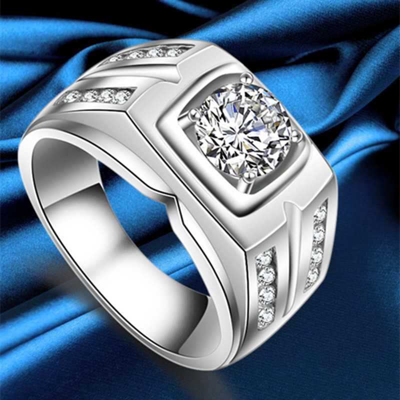 Male Ring Men Rings Sterling Silver 925 Vintage Mens Ring White Gold Color Classic Big Stone CZ Fashion Jewelry