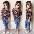 2017 Summer Style Florals Girls Sets Europe America Printed Blouse+Jeans Outfit Fashion Baby Girls Clothing Set c25