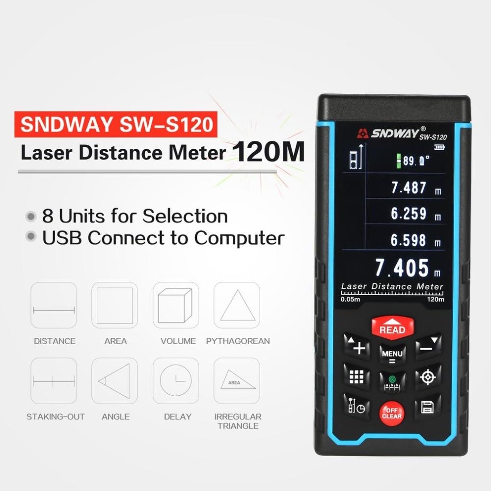 SNDWAY SW-S120 120 80M Handheld Laser Distance Meter Range Finder Trena Laser Tape Measure Distance Tool Rangefinder Lcd Camera kaman mk 60 1 8 lcd handheld laser distance meter rangefinder black red multi colored