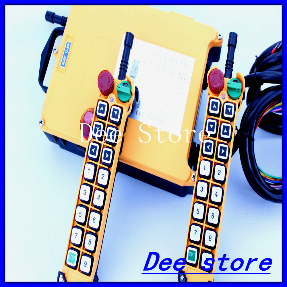 1 Speed 2 Transmitters 15 Channels Hoist Crane Industrial Truck Radio Remote Control Push Button Switch System Controller new 2 transmitters