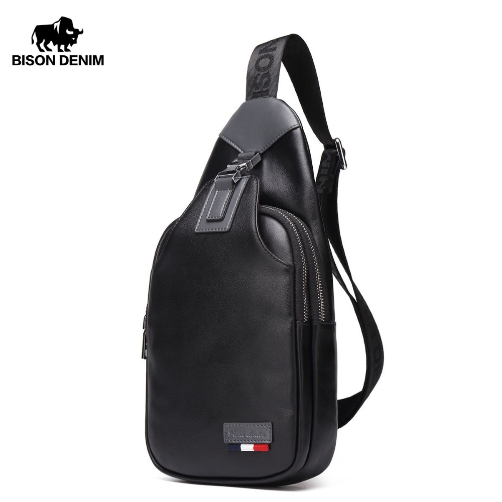 BISON DENIM сумки через плечо Мужская Натуральная кожа Повседневная сумка маленькая брендовая дизайнерская мужская сумка на плечо грудь поясна...